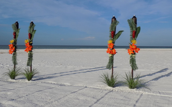 Colorful Tropical Tiki Decorations for Suncoast Florida Beach Weddings