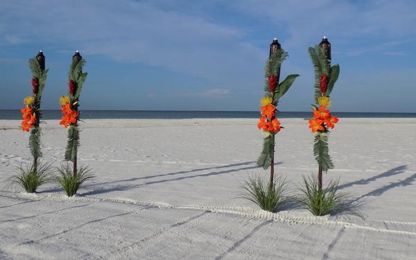 Colorful Tropical Tiki Decorations for Suncoast Florida Beach Weddings