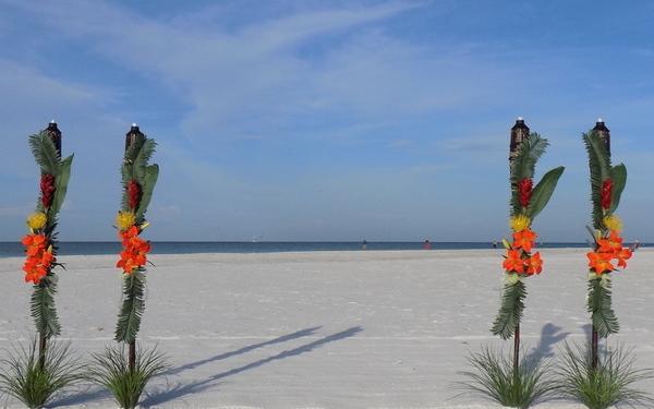Sarasota Weddings on the beach - Tropical Tiki Package