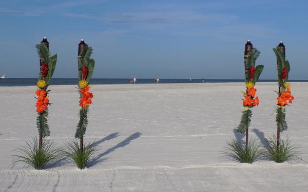 Tropical Tiki Beach Wedding Decorations - All Suncoast Fl. Beach Locations