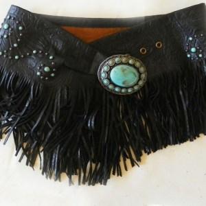 Patricia Wolf Black Turquoise Fringed Wrap Belt