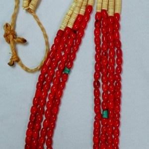 Santo Domingo Coral Bead Necklace/sinew tie