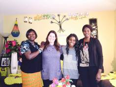 Writer/Director Hope McIntyre; Performer Cherrel Holder with community women who shared stories