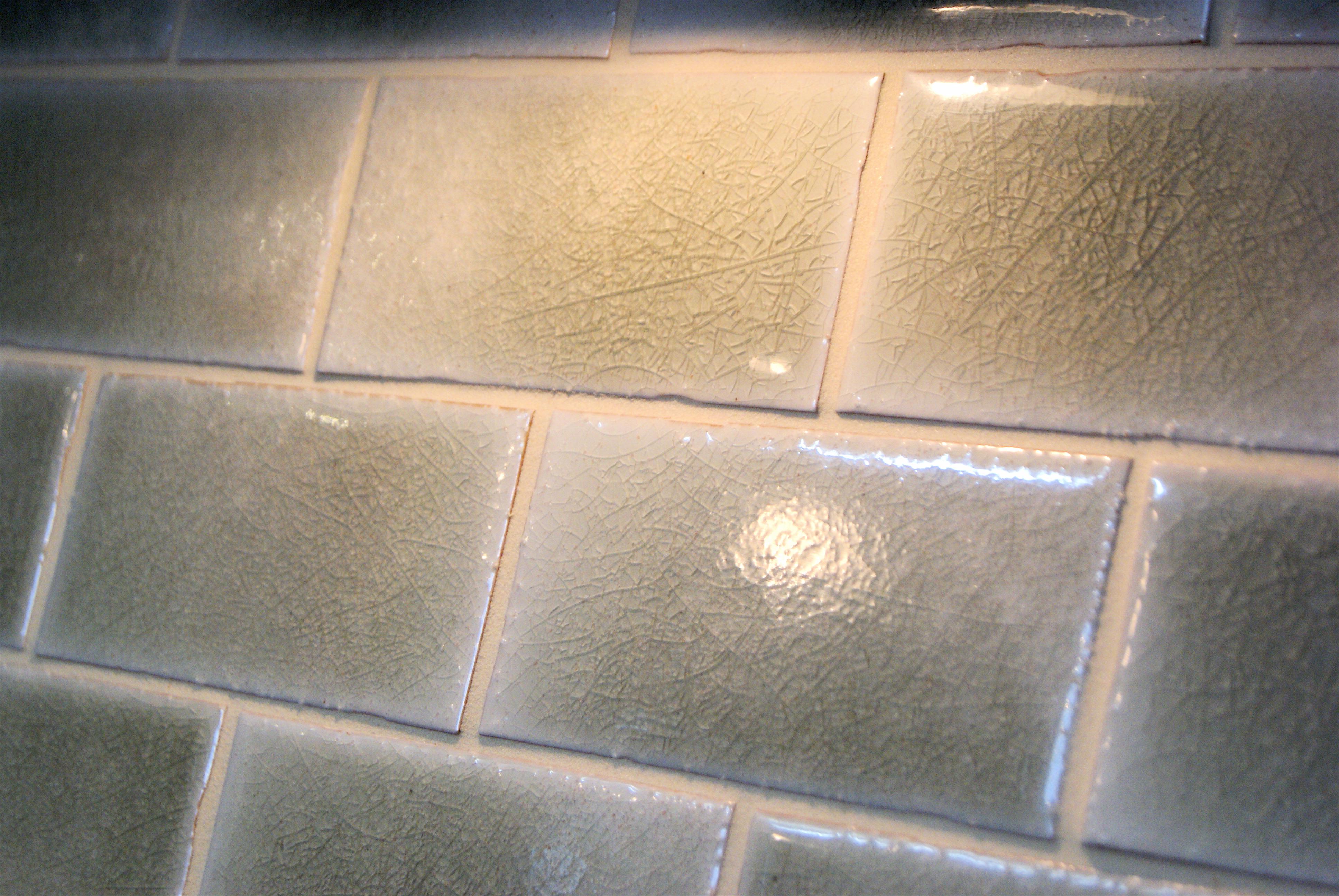 Glazed subway tile backsplash  Robert Burden Custom Tiling
