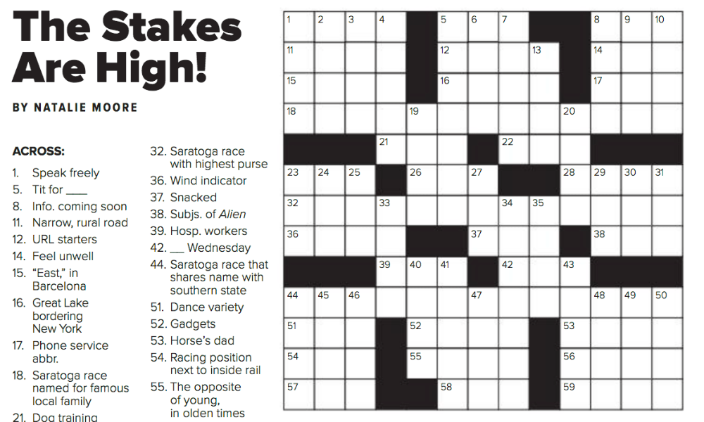 'saratoga living' The Races Issue: Crossword Puzzle Answer