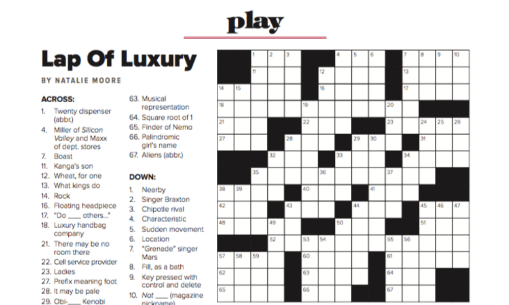 'saratoga living' The Luxury Issue: Crossword Puzzle And