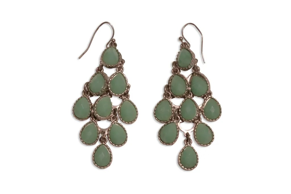Green Dangling Earrings After Background Removed.