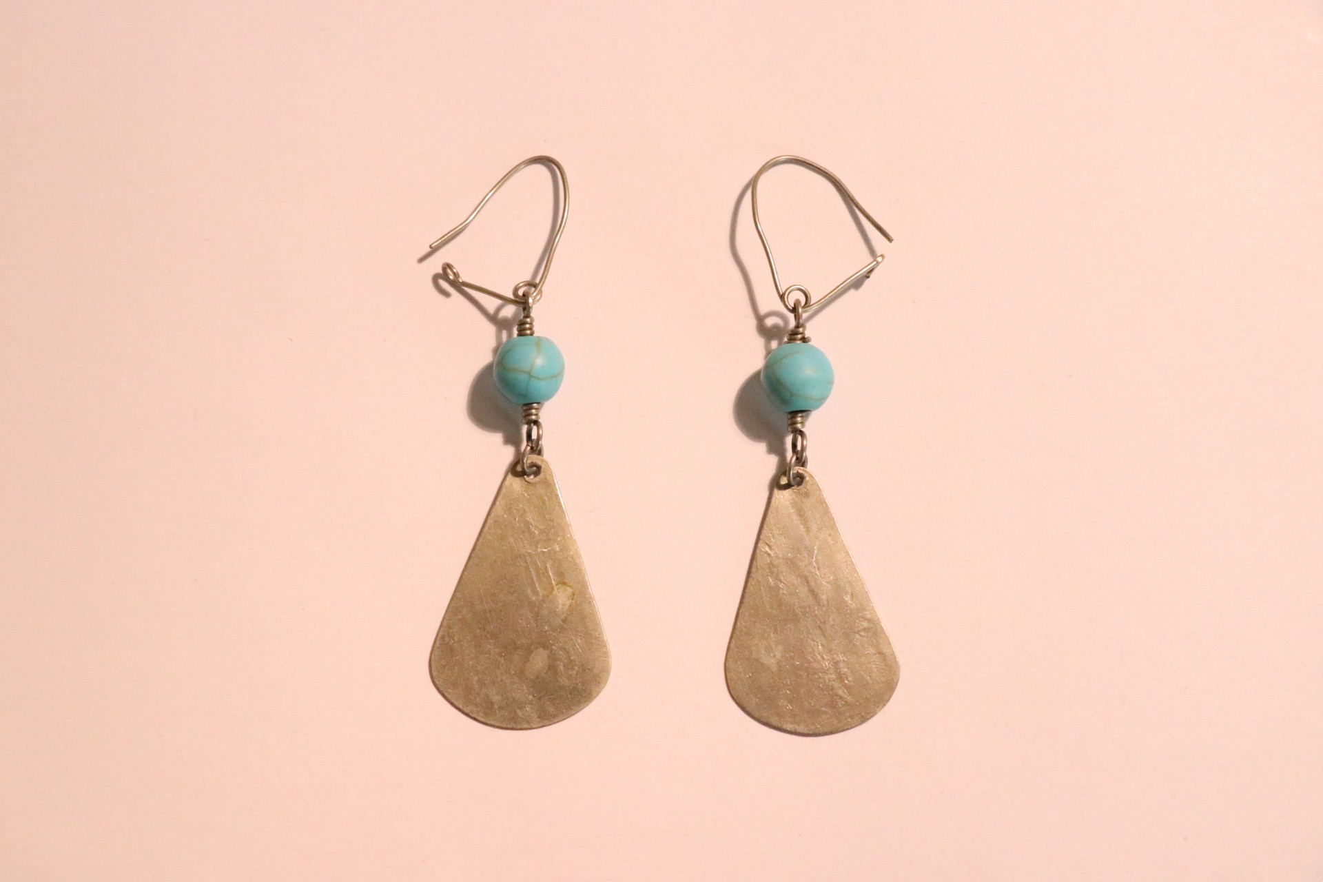 Silver Turquoise Earrings Before Background Removed From Image.