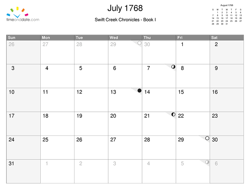 Writer's Resource: Create a calendar (with moon phases