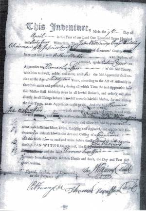 This is a photocopy of the apprenticeship bond of my ancestor, Arthur Butler.