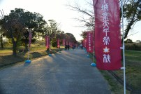 Flags promoting that day's festival at the Heijo Palace.