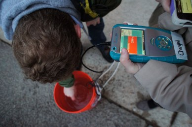 Taking temperature readings to calibrate the thermal fishing bobs, 2014.