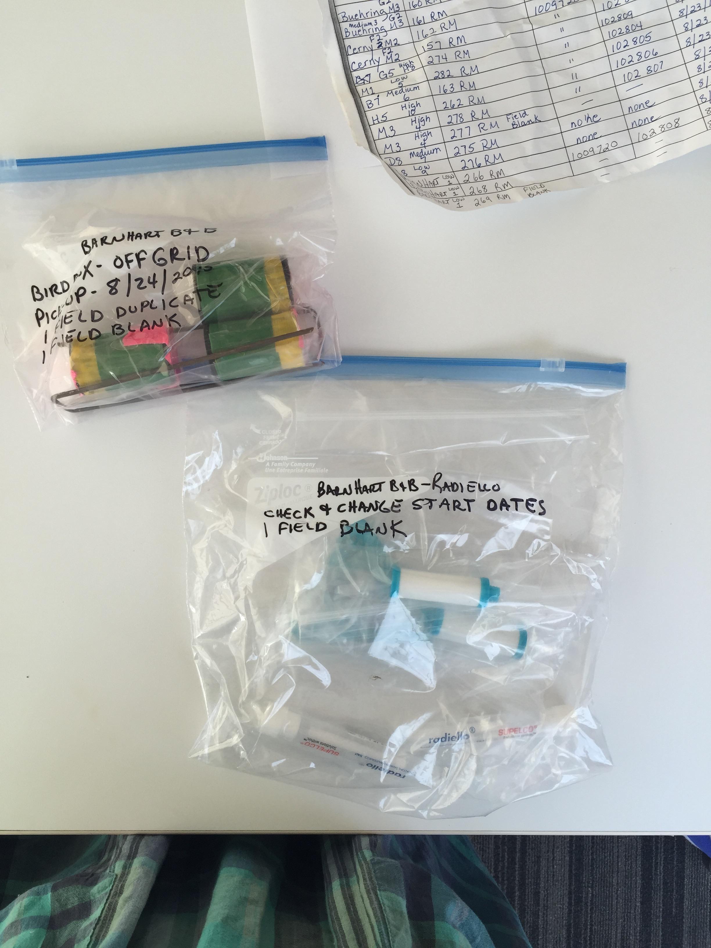 Samples before analysis