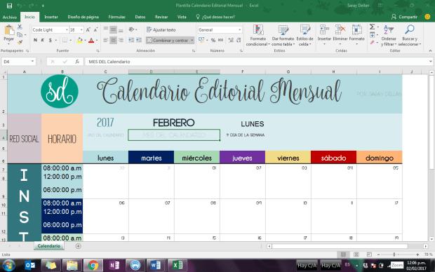 Calendario Editorial Mensual Descargable