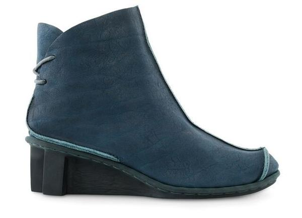 Blue leather ankle boots with a wedge heel