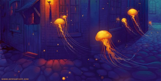 Glowing jellyfish float along a cobblestone street in front of wooden buildings