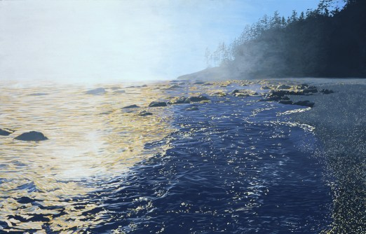 Fog blowing in from the ocean on a sunny day. Rocky shoreline forested with conifers