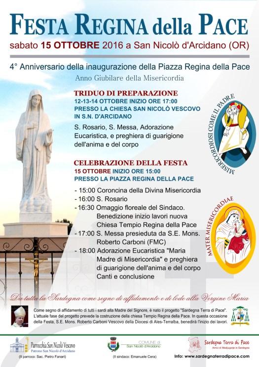 Locandina 4° Anniversario Festa Regina della Pace