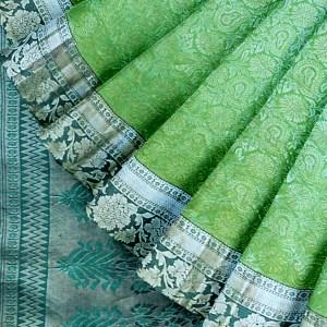 Seafoam Green and Arctic Blue Kanjivaram Saree