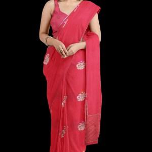Strawberry Pink Linen Silk Saree buy online