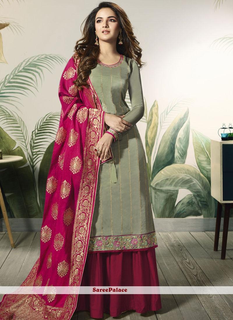 Silk Dress Designs : dress, designs, Designer, Pakistani, Resham, Satin, Green, Online