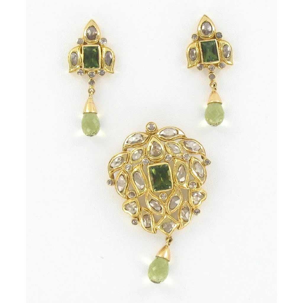 Uncut Diamond Pendants and Earrings  Sarees Villa