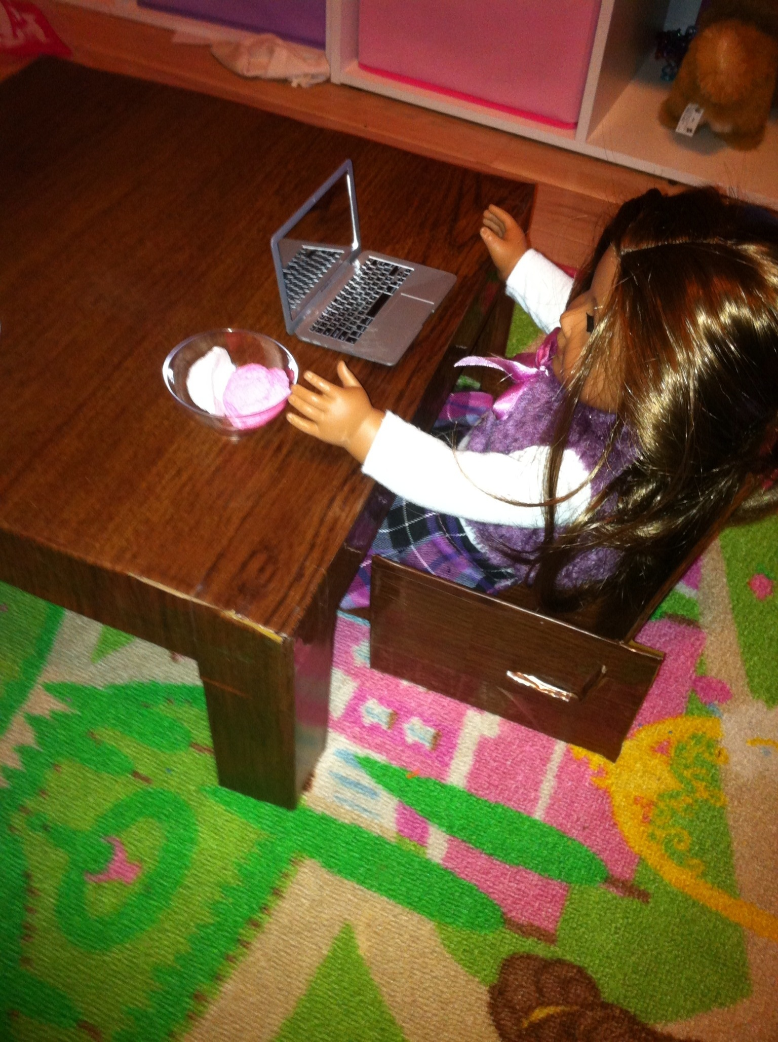 How To Make A Cardboard Chair Cardboard Table And Chairs For American Girl Or 18 Dolls
