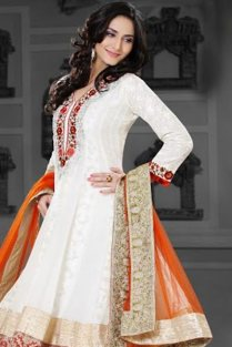 Off-white Bemberg Georgette Embroidered Anarkali