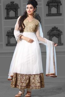 Off-white Net Embroidered Anarkali