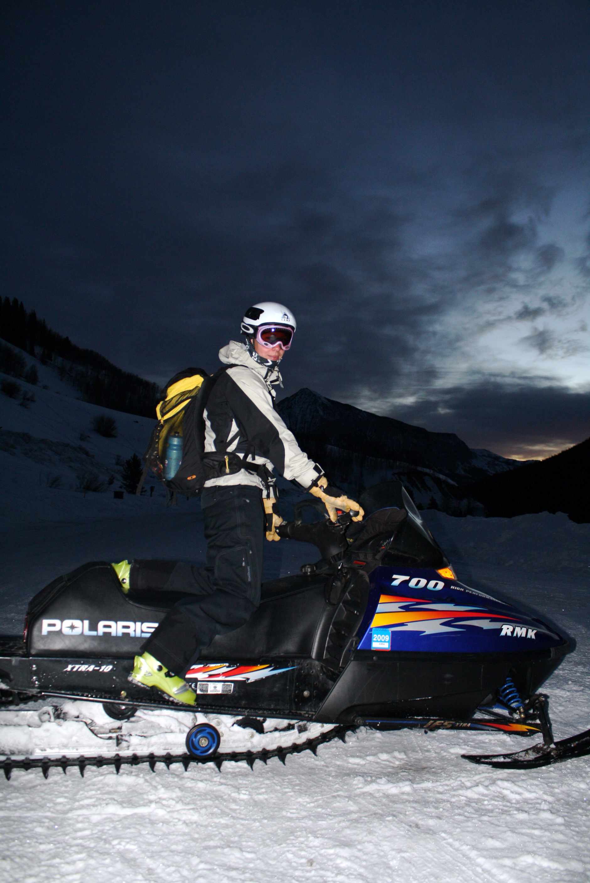 Snowmobile ride into Crested Butte Saturday morning for the race.