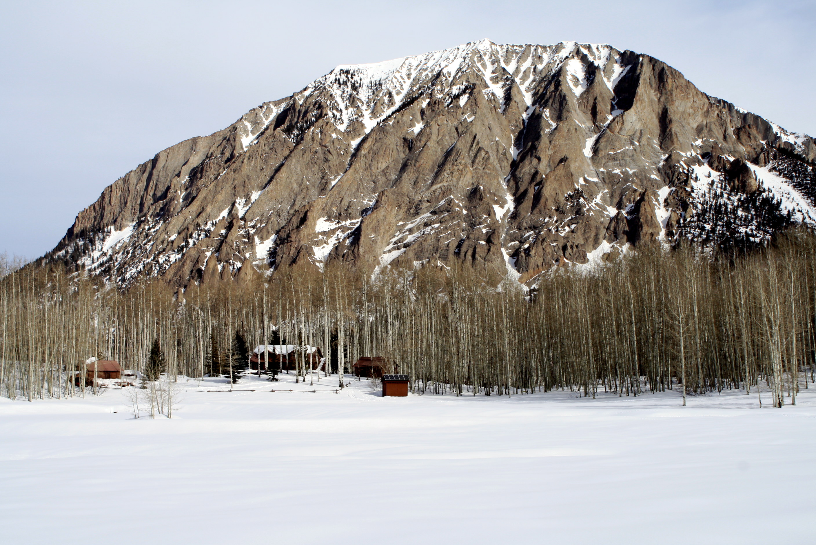 The Wells cabin in the shadow of Marcillena Mountain
