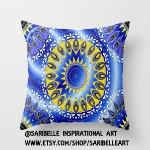 "Throw Pillow Covers,""BLUE AND YELLOW Mandala Pattern"",16x16,18x18,20x20 inches,digital art,home decoration,mandala, decorative pillow"