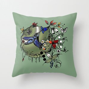 "Throw Pillow Cover,""Colorful Hummingbird""16x16,18x18,20x20inches,color green pillow,home decor design,decorative pillow,hummingbird,bird art"