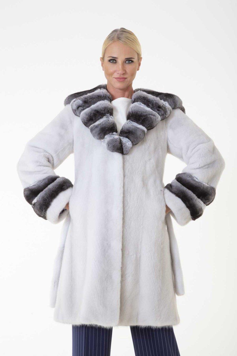 Aurora Violet Male Mink Jacket with Hood | Sarigianni Furs