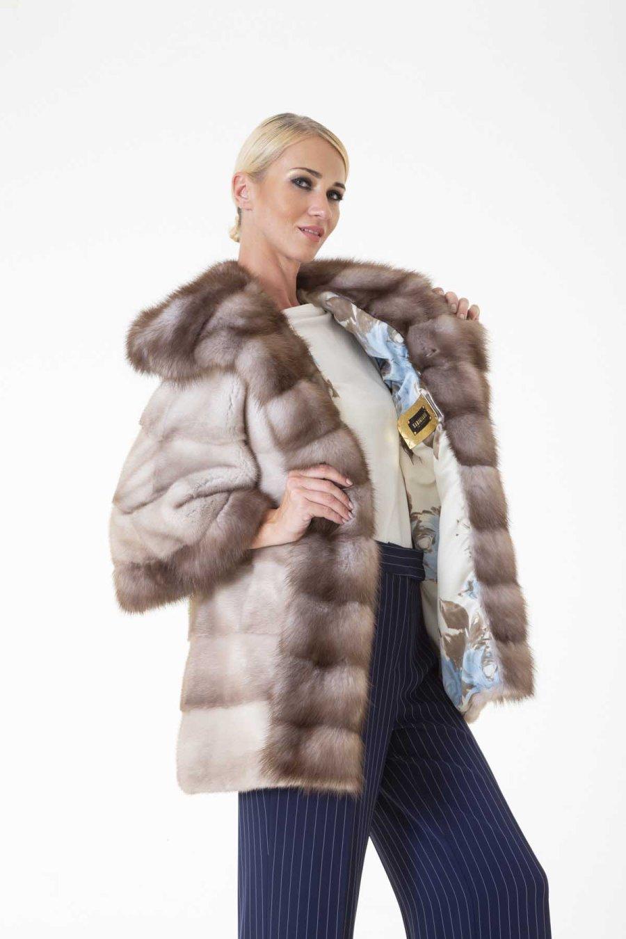 Tatiana Lavender Male Mink Jacket with Hood | Sarigianni Furs