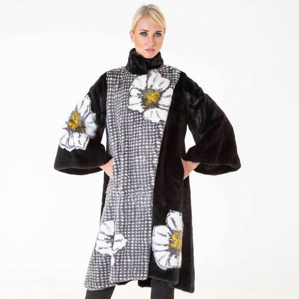 Blackglama Mink Coat with flower print | Sarigianni Furs