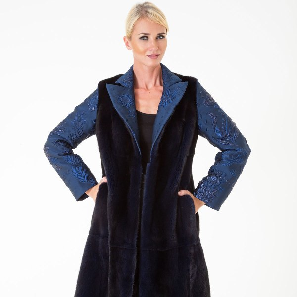 Шуба из норки - внешняя отделка из ткани | Sarigianni Furs