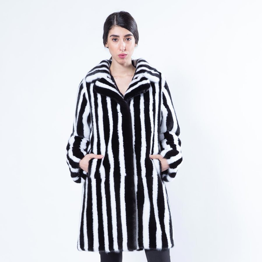 Blackglama Mink Jacket with white stripes | Sarigianni Furs