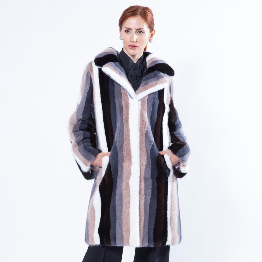 Multi-coloured Striped Mink Coat | Sarigianni Furs