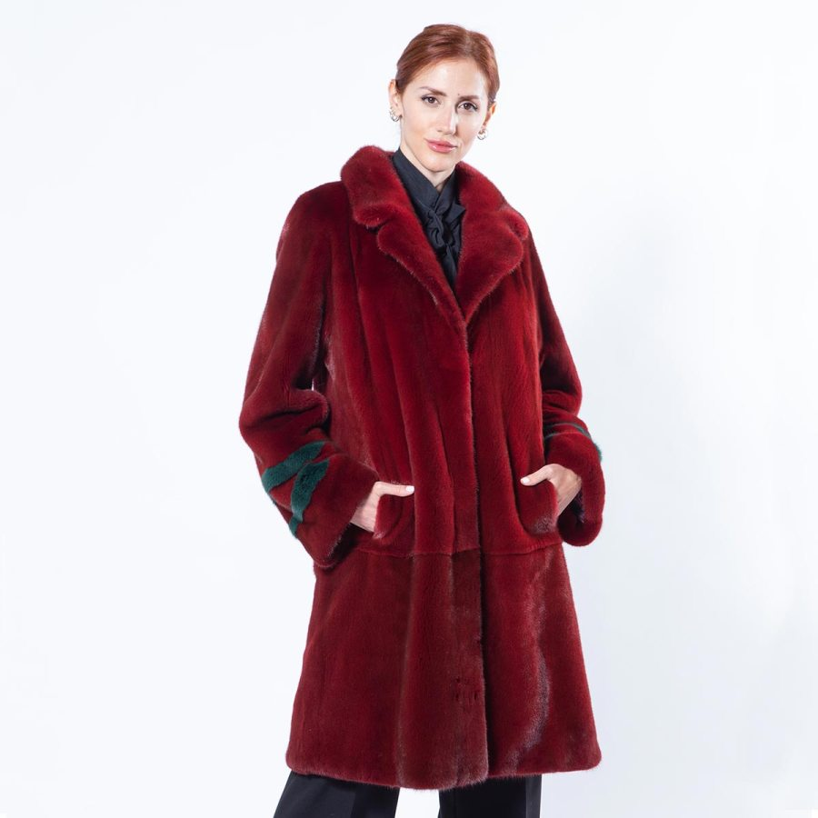 Passion Red Mink Coat with english collar | Sarigianni Furs