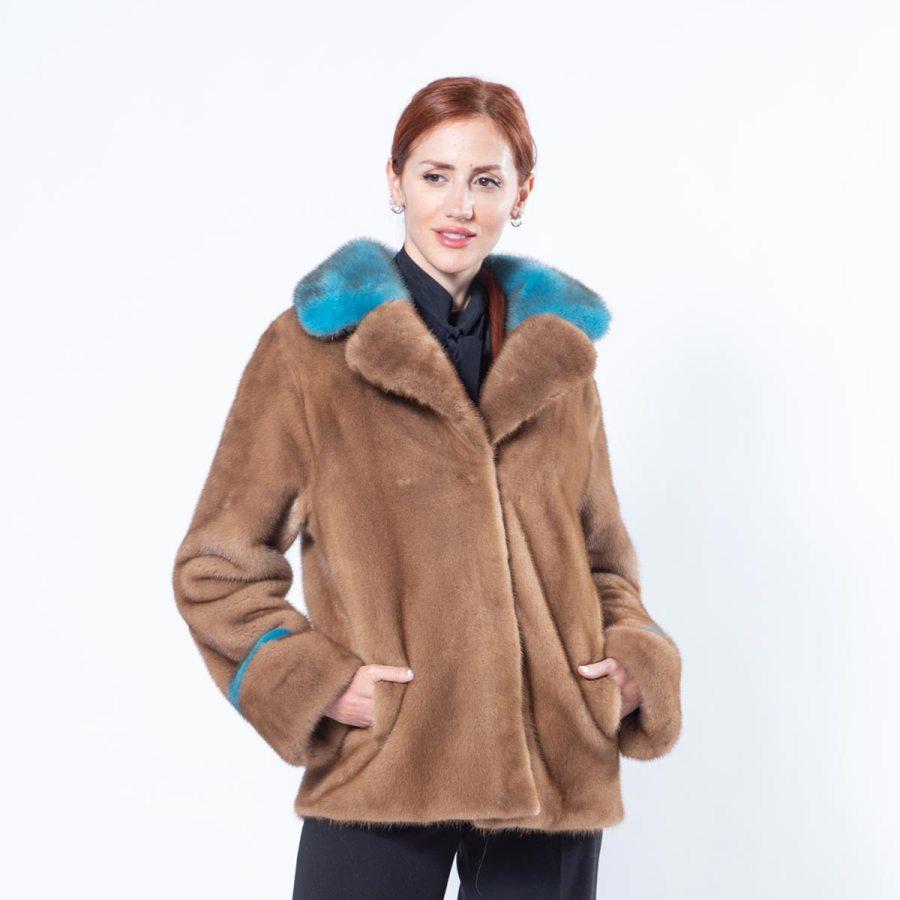 Pastel Mink Jacket with english collar | Sarigianni Furs