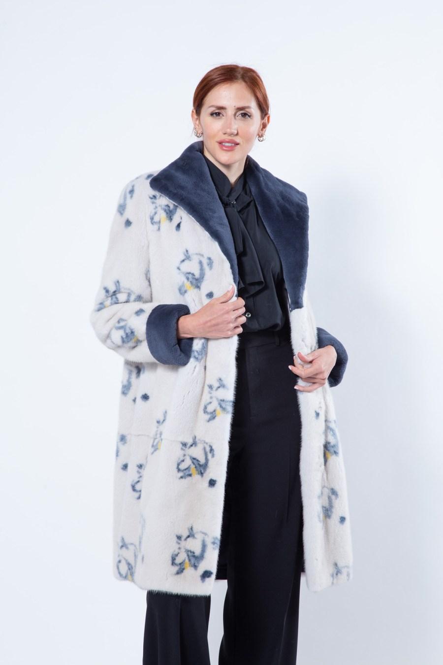 Pearl Mink Jacket with Dark Blue Flower print   Sarigianni Furs