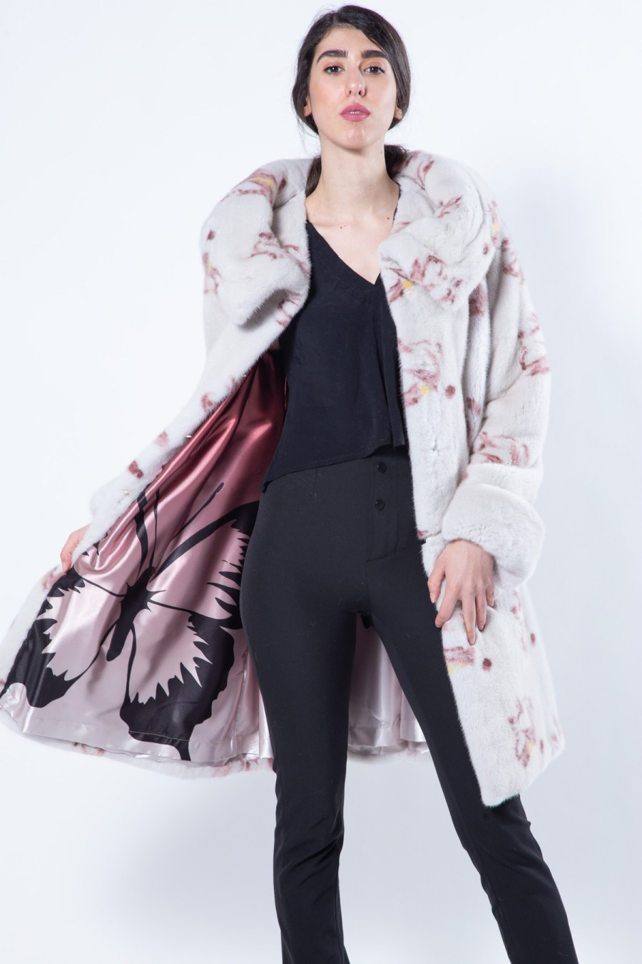 Pearl Mink Jacket with Bordeaux Flower print | Sarigianni Furs
