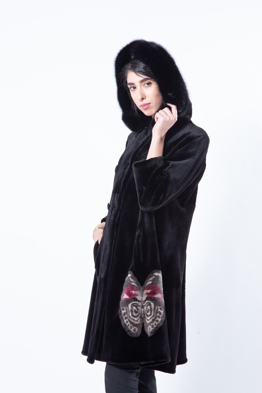 Black Sheared Mink Jacket with Butterfly Print | Sarigianni Furs
