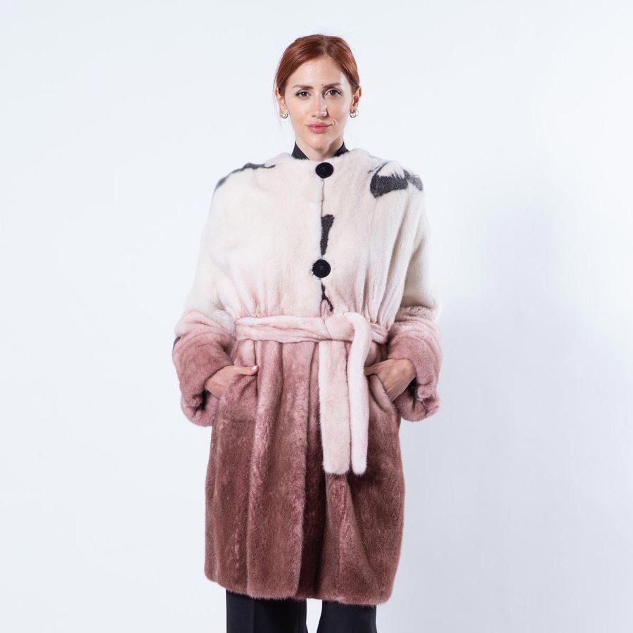 Bordeaux Degrade Mink Jacket with Butterfly Print | Пальто из норки бордового цвета с эффектом деграде и принтом с бабочками - Sarigianni Furs