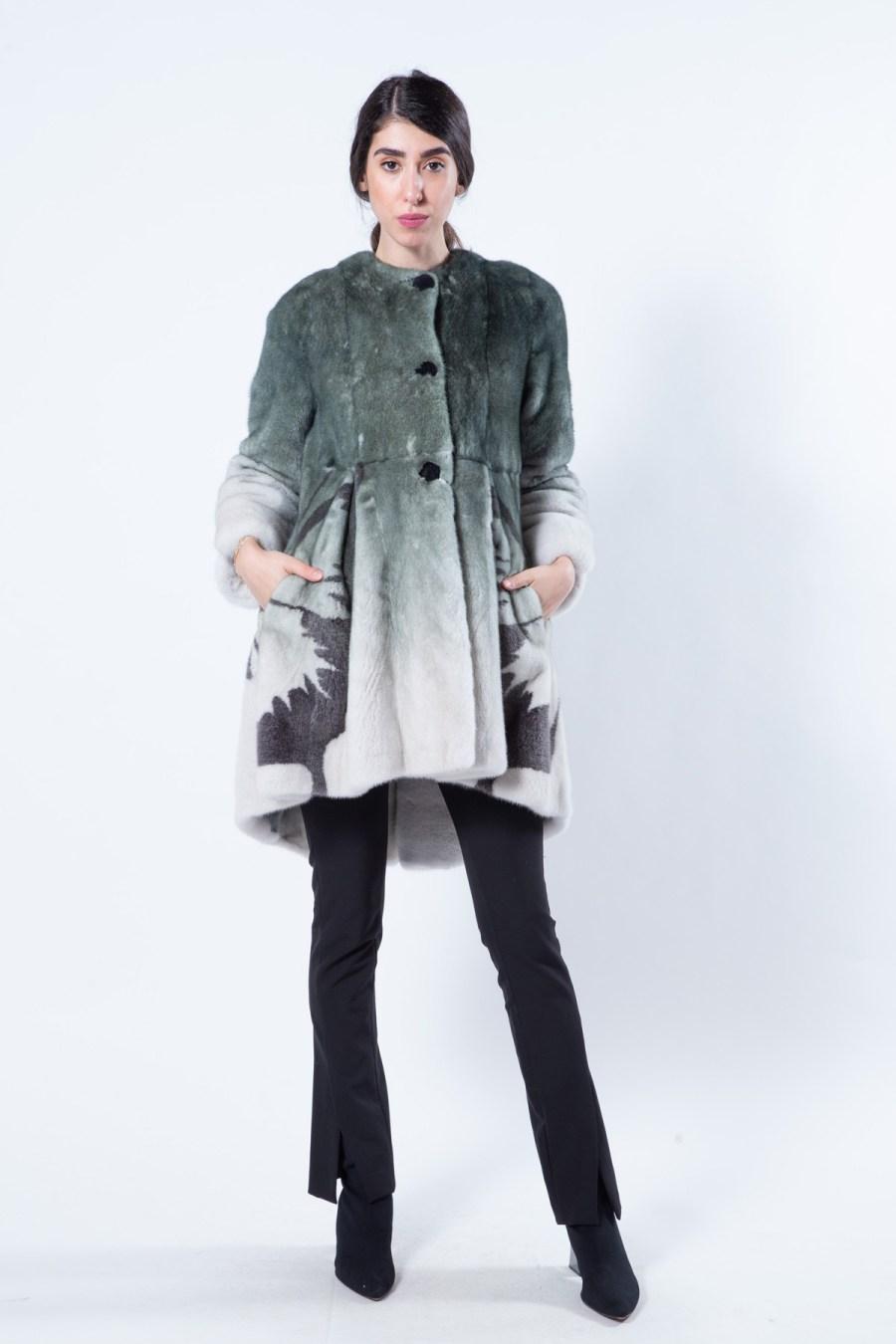 Olive Degrade Mink Coat | Sarigianni Furs