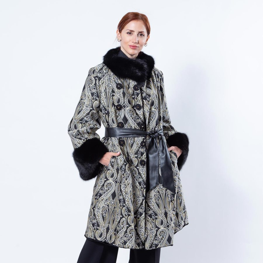 Black Sheared Mink and Fabric Coat | Sarigianni Furs