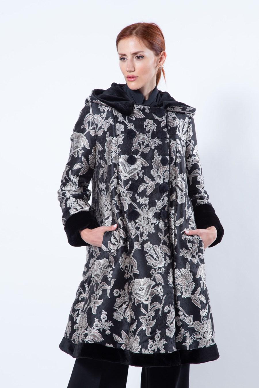 Double-faced Black Sheared Mink and Fabric Coat | Двусторонняя Шуба с капюшоном из чёрной стриженной норки - Sarigianni Furs