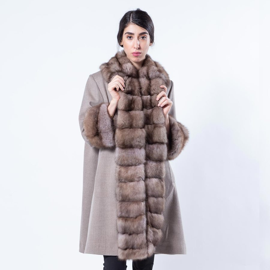 Cashmere Jacket with Beige Scuro Sable Fur-trim | Sarigianni Furs