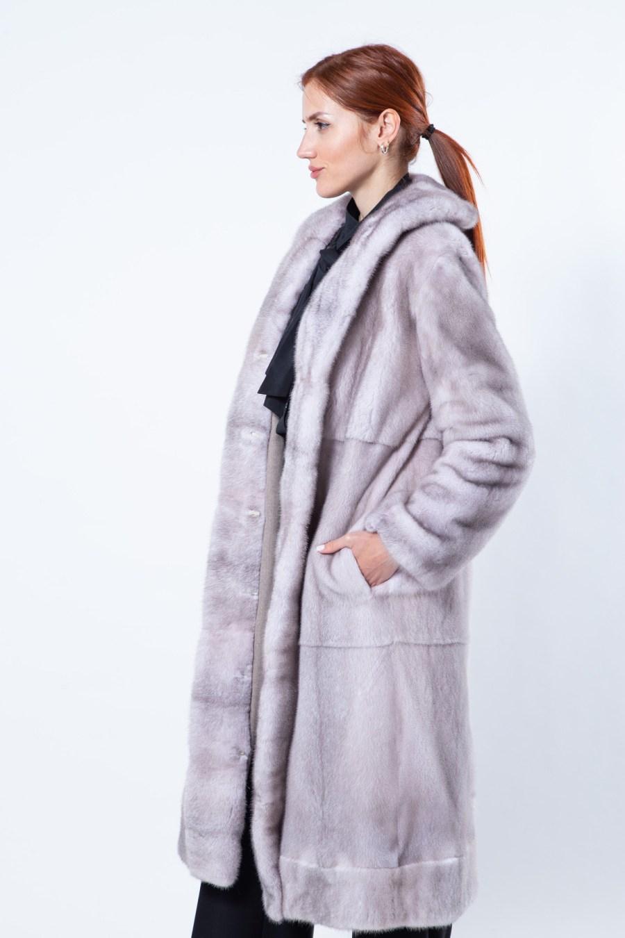 Double-faced Ice Fume Mink and Fabric Coat | Двусторонняя Шуба из норки цвета Ice Fume и ткани - Sarigianni Furs